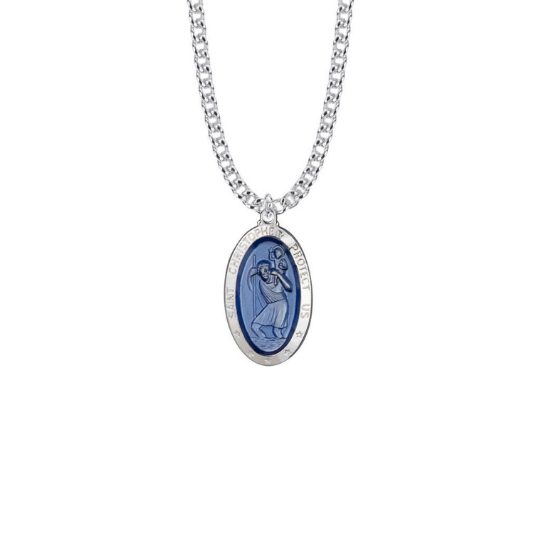 Blue St Christopher Necklace - Sterling Silver Pendant On 24 Stainless Chain SM8116SH
