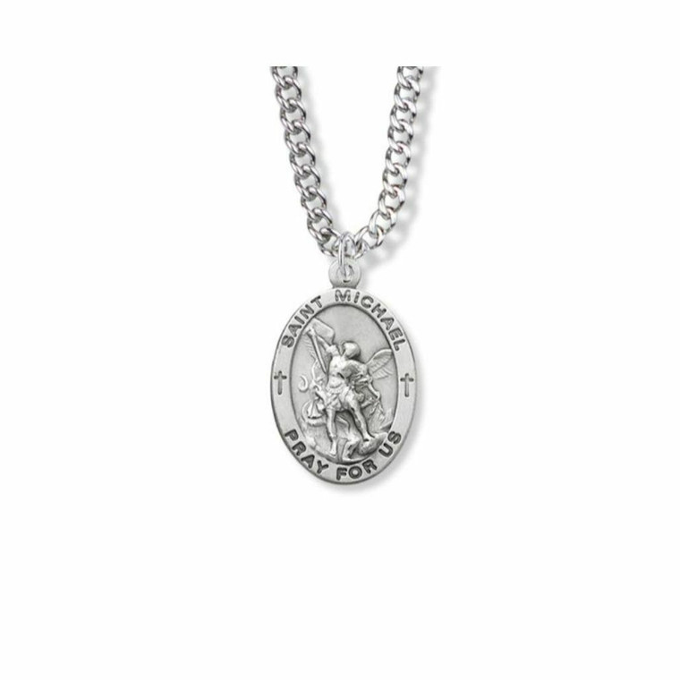 Large St Michael Necklace - Sterling Silver Oval Medal On 24 Stainless Chain SM8844SH