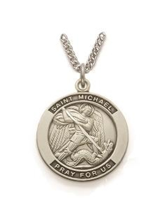Mens St Michael Necklace - Sterling Silver Round Medal On 24 Stainless Chain SM8208SH