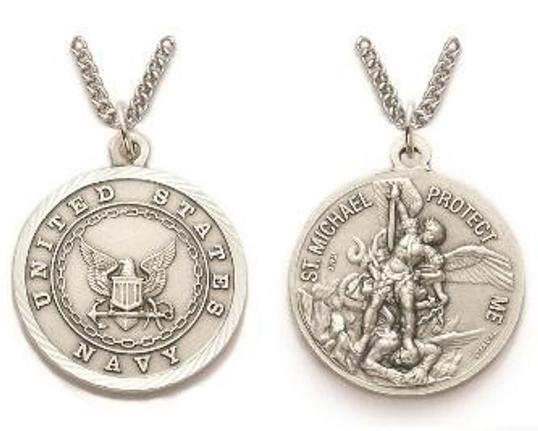 Large St Michael Navy Necklace - Sterling Silver Round Medal On 24 Stainless Chain SM8249SH