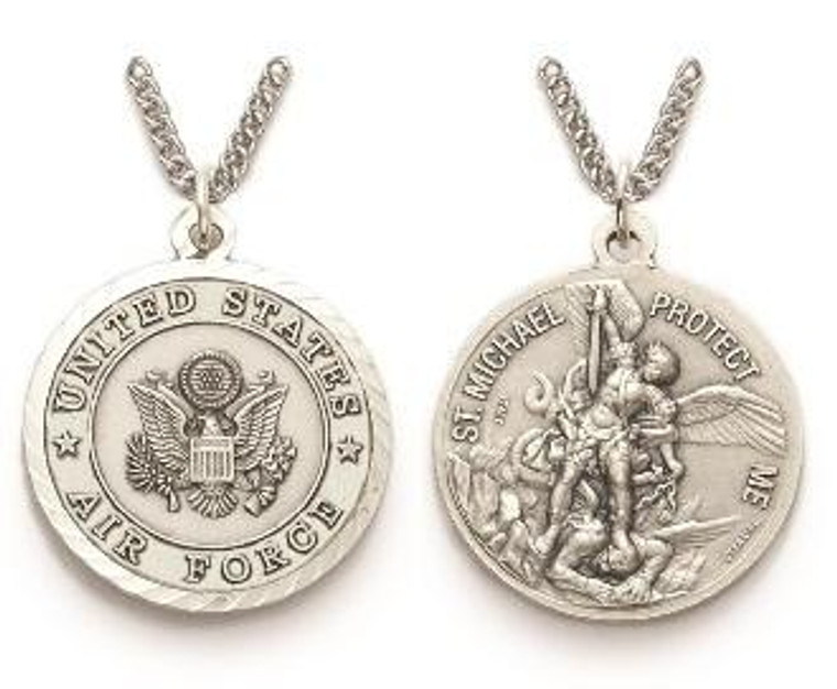Large St Michael Air Force Necklace - Sterling Silver Round Medal On 24 Stainless Chain SM8250SH