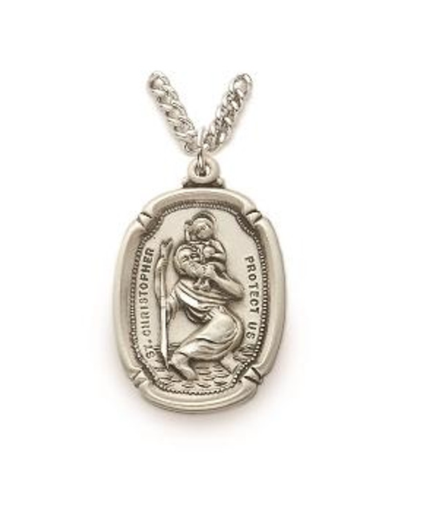 St Christopher Necklace - Sterling Silver Medal On 24 Stainless Chain SM8556SH