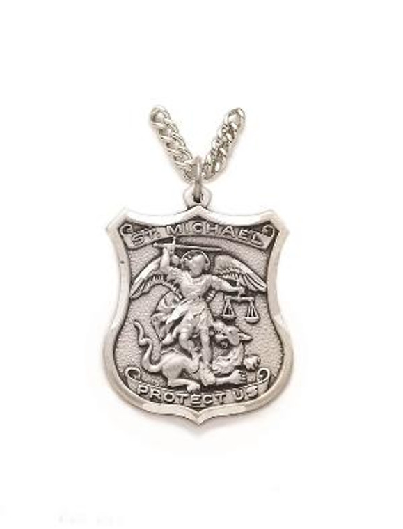 St Michael Policeman Necklace - Sterling Silver Medal On 24 Stainless Chain SM0536SH