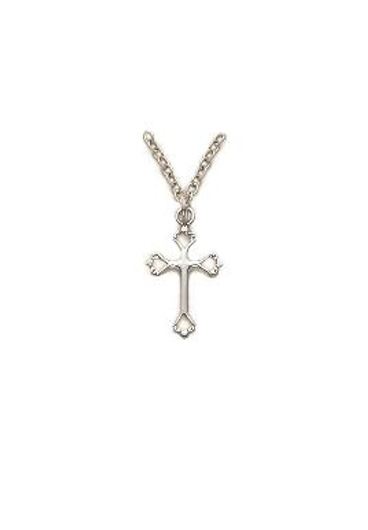 Small Open Heart Cross Necklace - Sterling Silver Pendant on 18 Stainless Chain SX7815SH