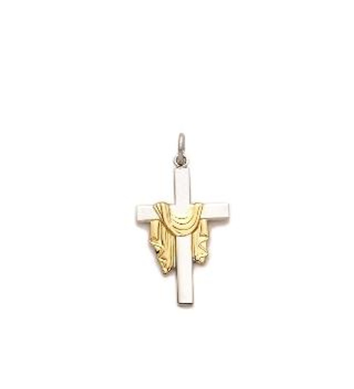 2Tone Robe Cross Necklace - Sterling Silver Pendant on 18 Stainless Chain SX7899SH
