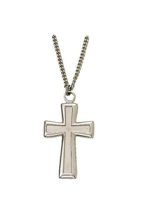 Flared Polish/Satin Cross Necklace - Sterling Silver Pendant on 24 Stainless Chain SX9223SH