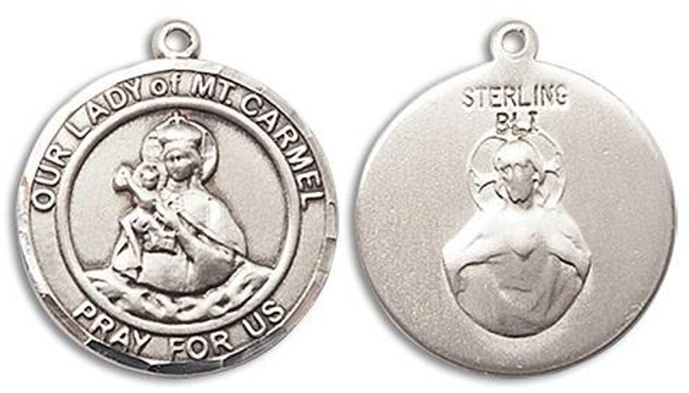 Our Lady of Mount Carmel Medal - Sterling Silver Round Pendant 2 Sizes