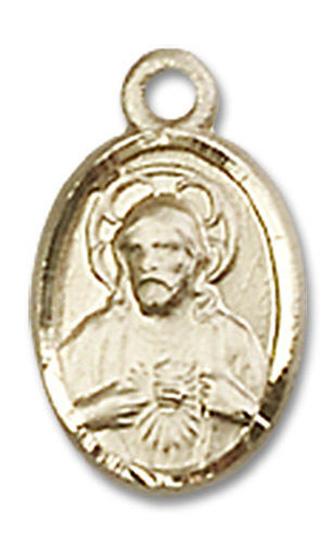 Scapular Medal Charm - 14kt Gold Oval Pendant 0702S