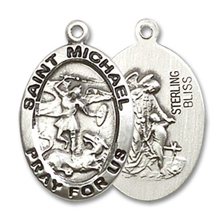 St Michael and Guardian Angel Medal - Sterling Silver 3/4 x 1/2 Oval Pendant 3987SS