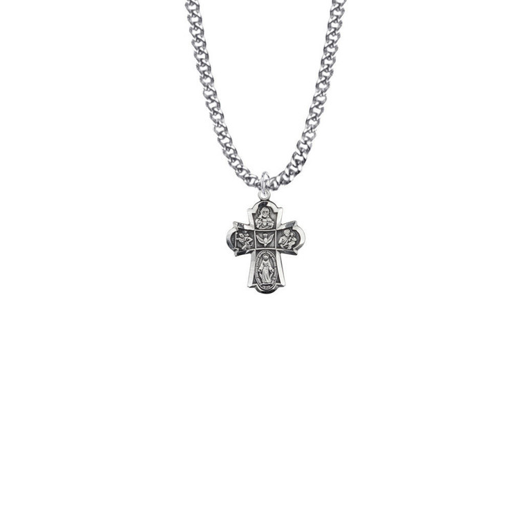 5-Way Medal Necklace - Sterling Silver Pendant On 18 Stainless Chain SM0647SH