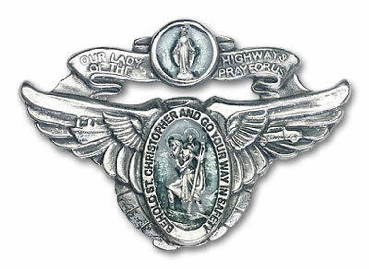 Blue St Christopher and Our Lady of the Highway Visor Clip - Silver Finish 1017EV