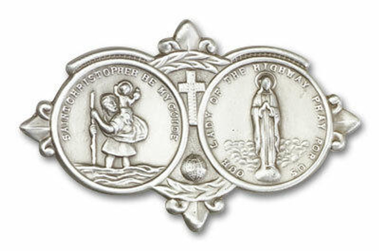 St Christopher and Our Lady of the Highway Visor Clip - Silver Finish 1024V