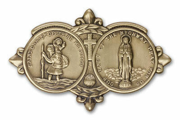 St Christopher and Our Lady of the Highway Visor Clip - Gold Finish 1024VG