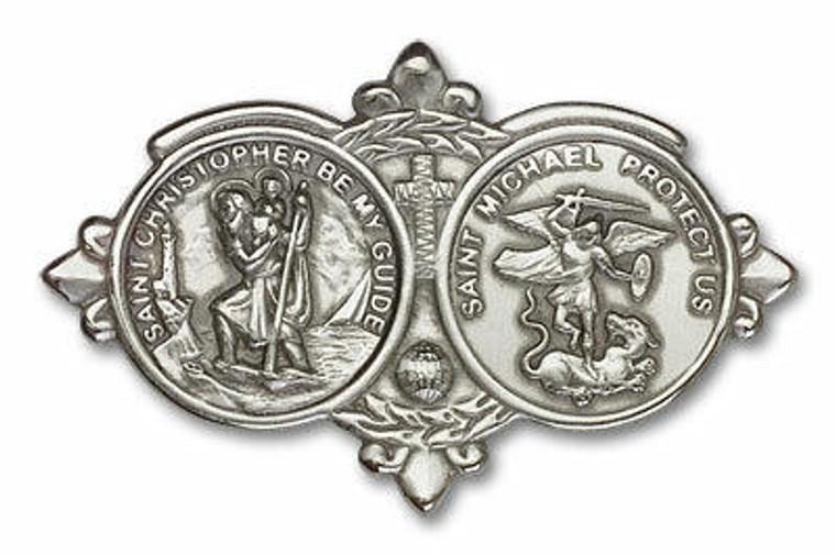 St Christopher and St Michael Visor Clip - Silver Finish 1034V