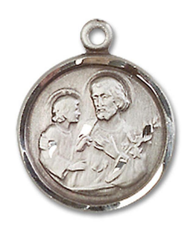 St Joseph Medal - Sterling Silver 5/8 x 1/2 Round Pendant 0601KSS