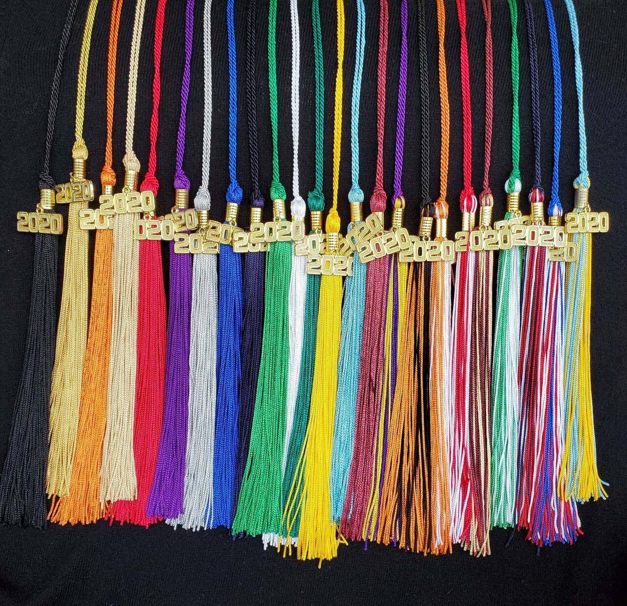 Graduation Tassel 16 long with 9.5 Tassel and 6.5 Loop Includes Gold Charm MADE IN USA Bulk Discounts