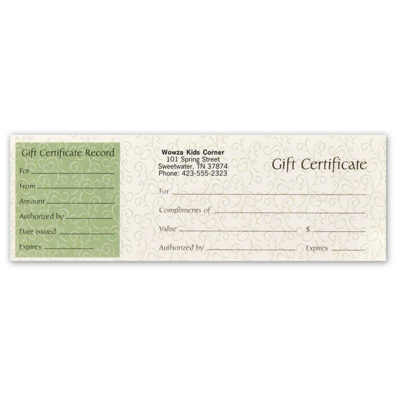 Gift Certificates, Paradise Green - Prenumbered - Padded, w/detachable stub and Matching Envelopes