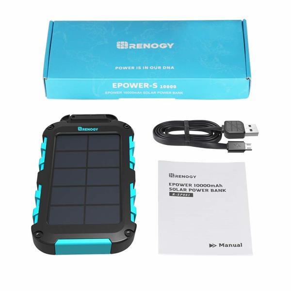 Renogy 10000mAh Solar Power Bank Dual USB Phone Charger