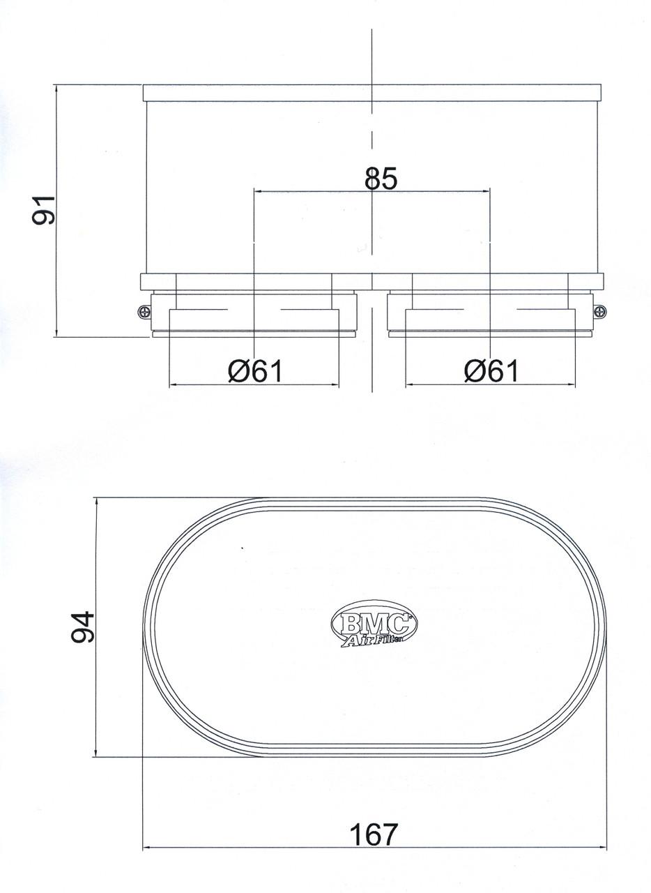 BMC Air Filter FM3092 Dimensions