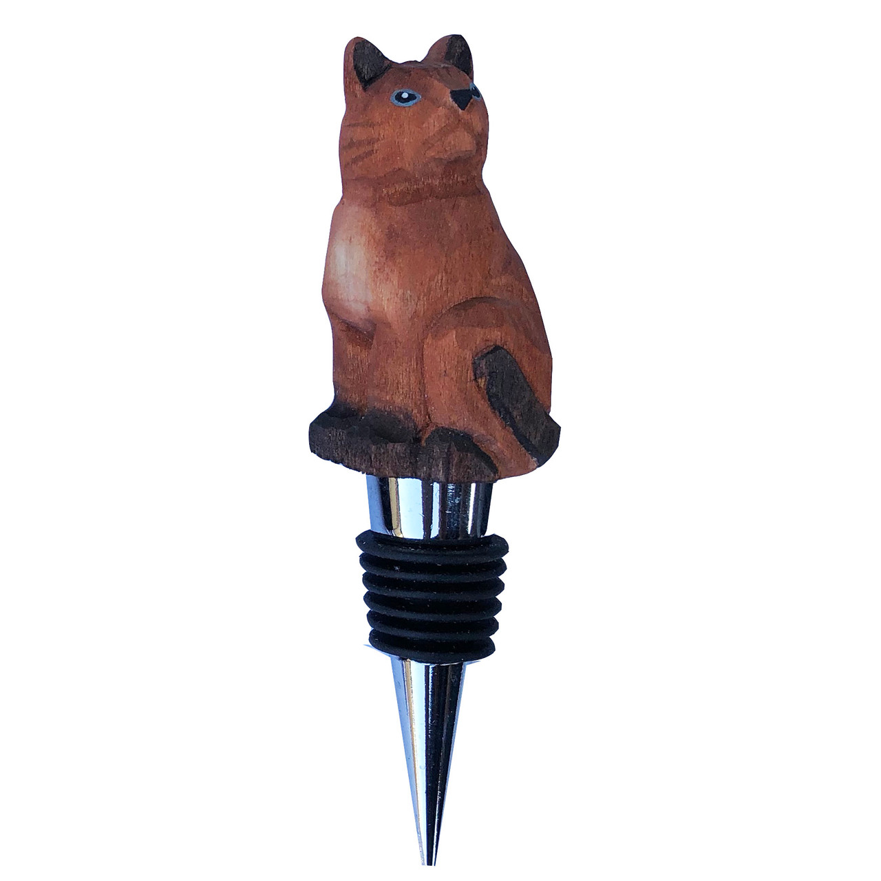 Set of 2 Wine Bottle Stopper Animals Dog and Cat Airtight Rubber Seal Reusable Cat-Dog Wooden Hand Carved