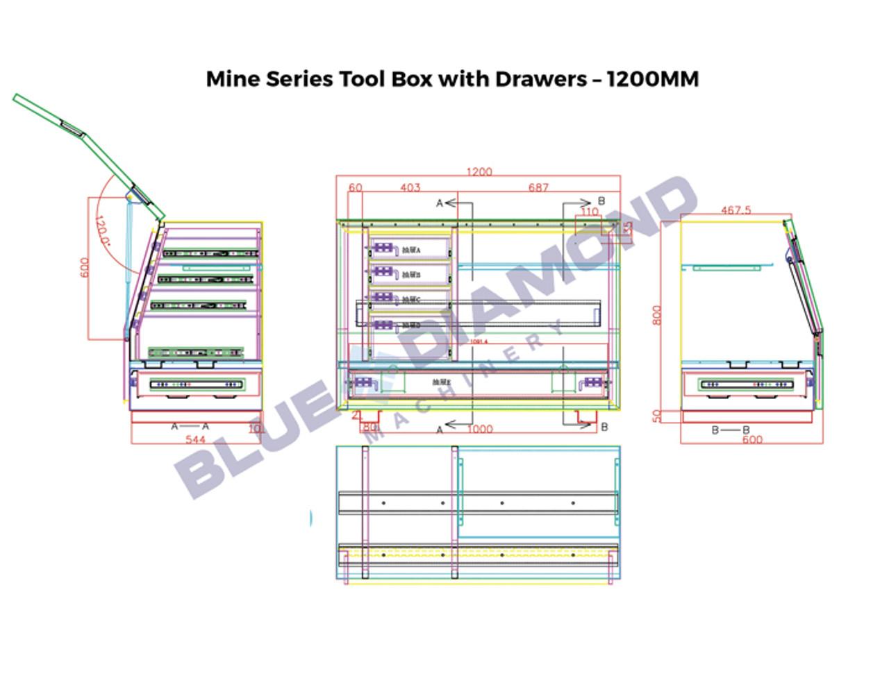 Black Steel Mine Series Tool Box with Drawers- W1200