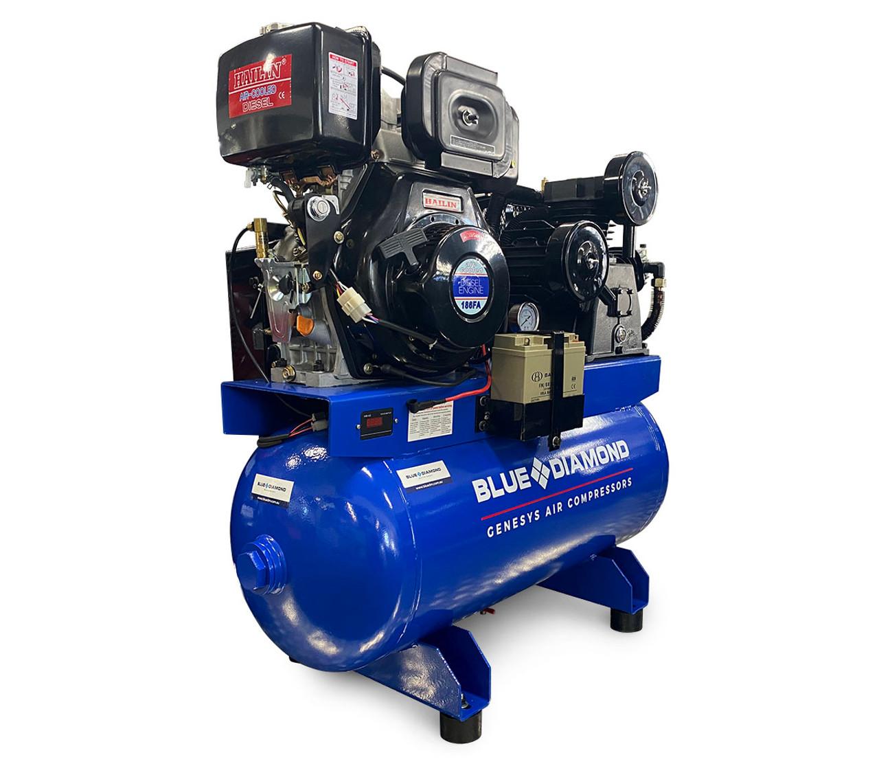 Piston Air Compressor- Diesel 11HP 23 CFM 114L 180 PSI