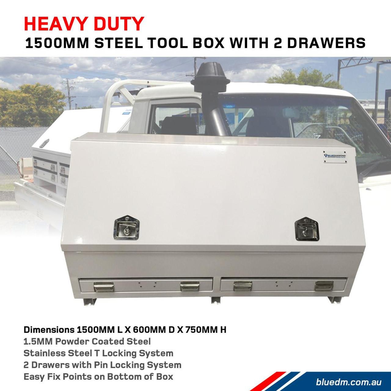 Steel Tool Box 2 Drawers W1500- Ute & Truck