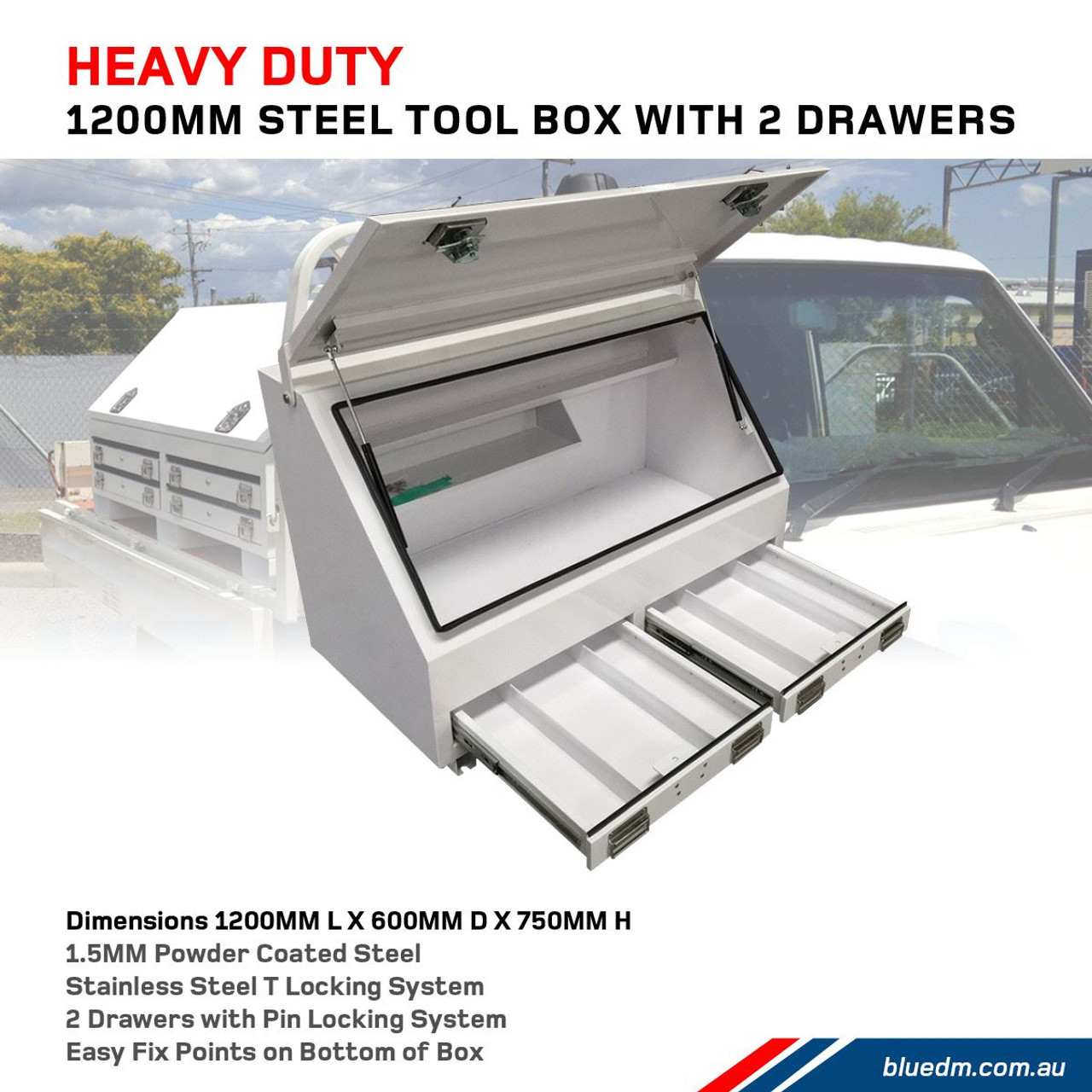 Steel Tool Box 2 Drawers W1200- Ute & Truck