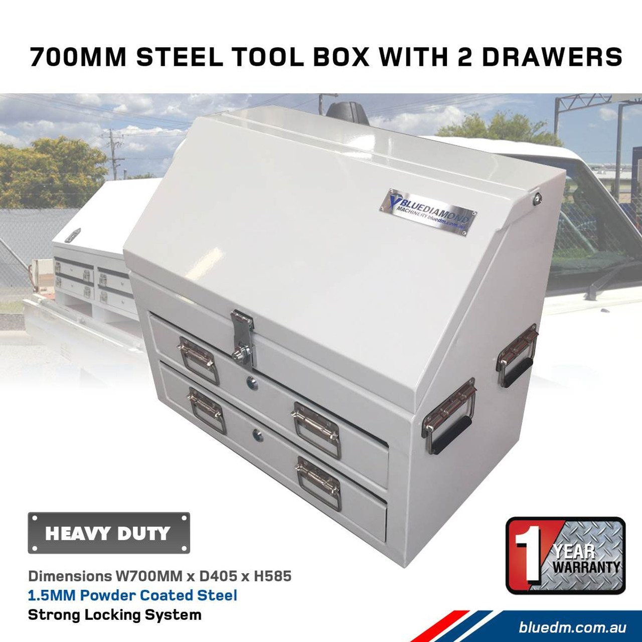 2 Draw, 2 Shelf White Steel Tool Box for Ute or Truck