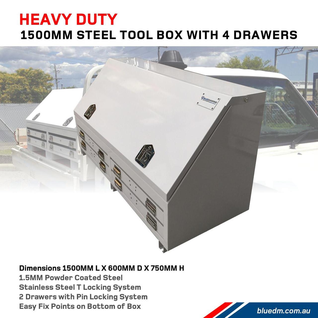 Steel Tool Box 4 Drawers W1500- Utes & Trucks