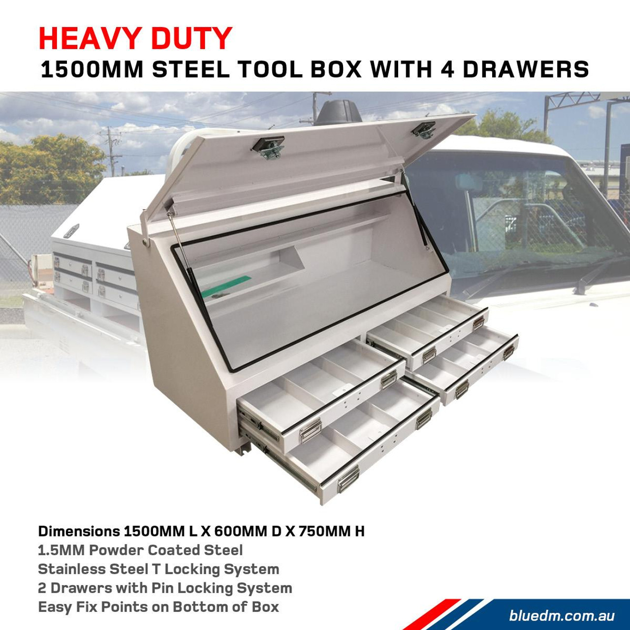 Strong Secure Storage with Steel Tool Box with 4 Draws