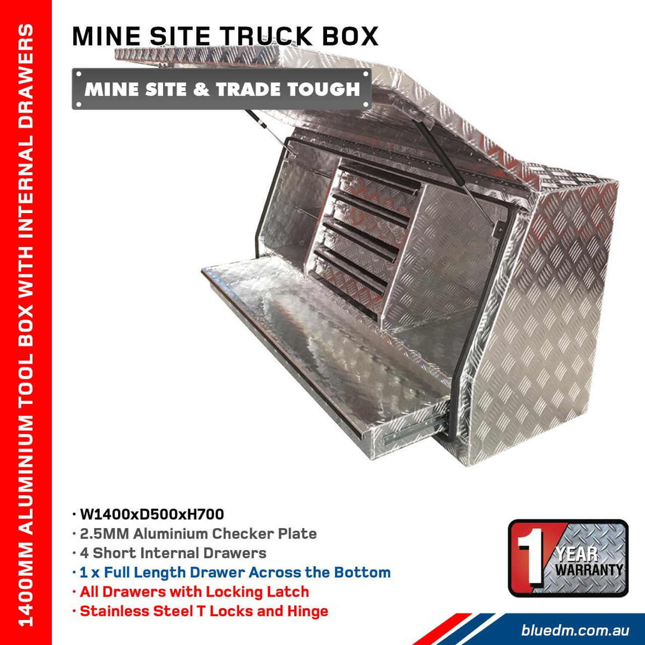 Tool Box Full Door 4 Drawers Aluminium- Ute & Truck