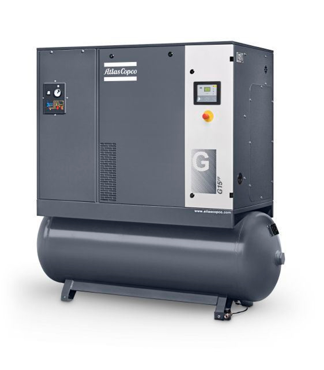 Tank Mounted Screw Compressor includes dryer.