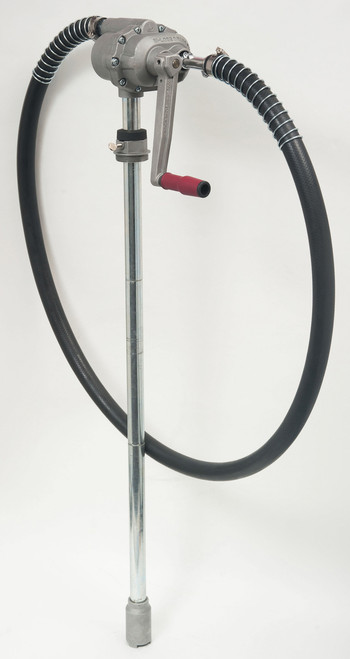 Hi speed refueling drum pump with PPR covered handle designed to reduce operator fatigue.