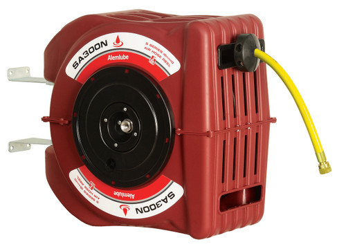 Industrial Air Hose reel with automatic and positive latching mechanism