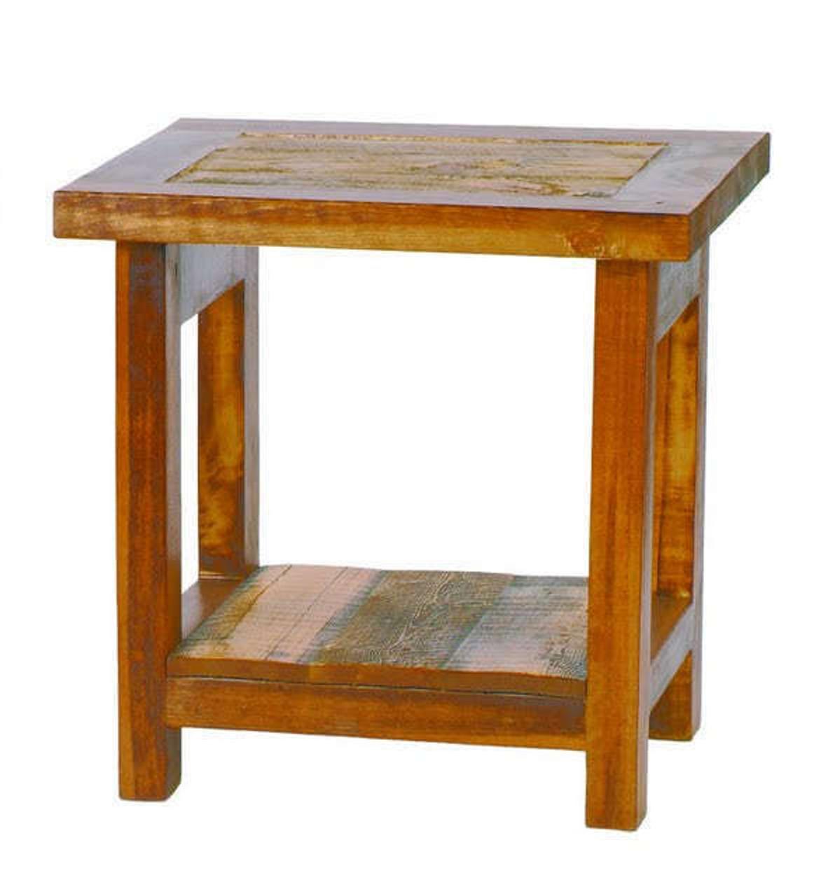 Rustic Reclaimed Wood End Table   Natural Barnwood
