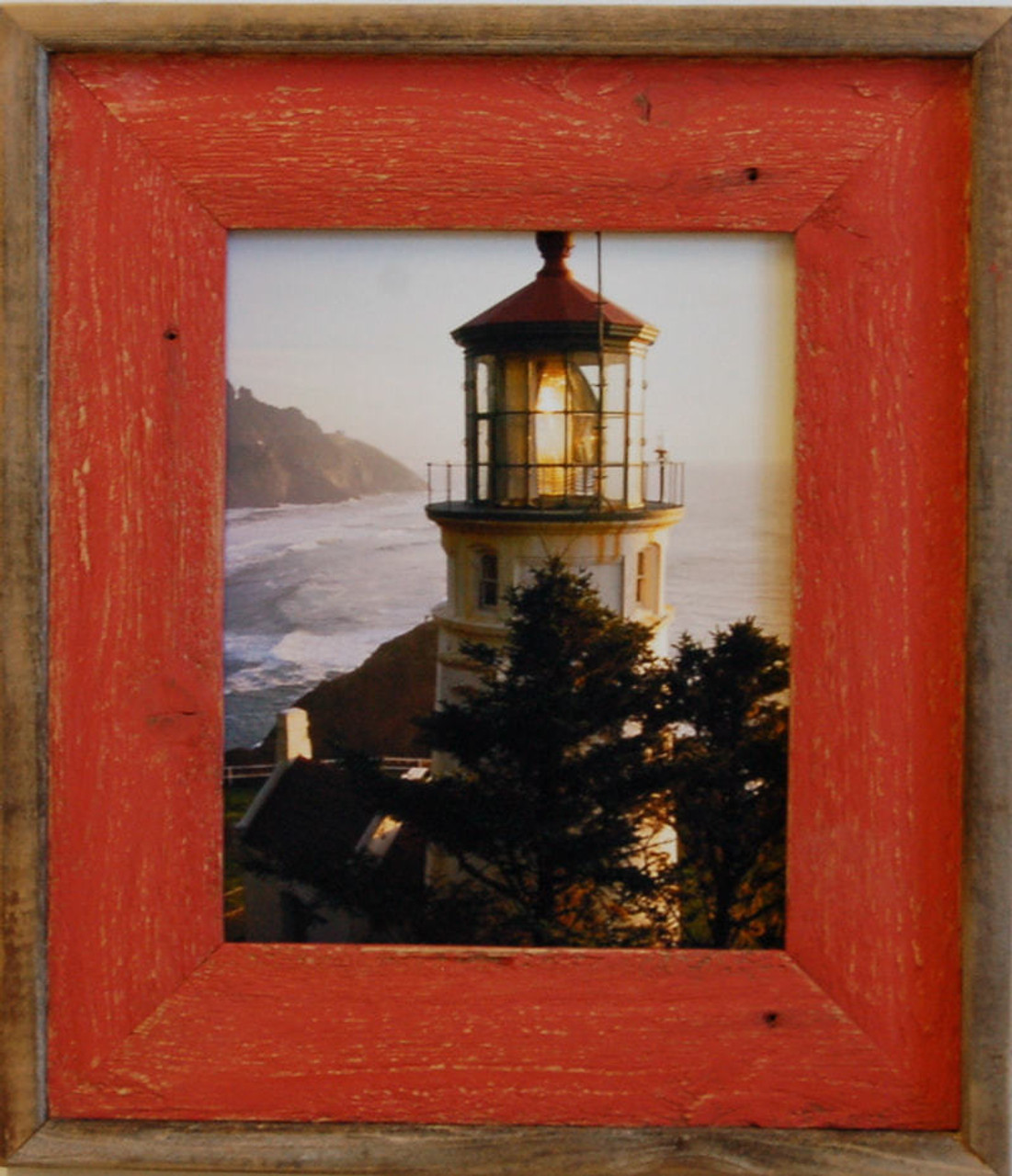 4x6 Barnwood Picture Frame Lighthouse Red Distressed Wood Frame