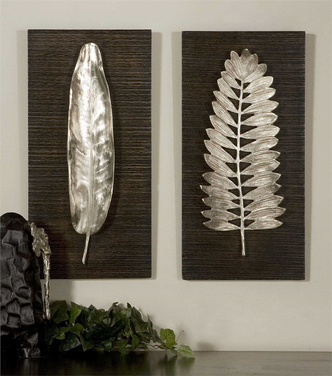 Silver Leaf Wall Art Plaques Set Of Two On Black Wood