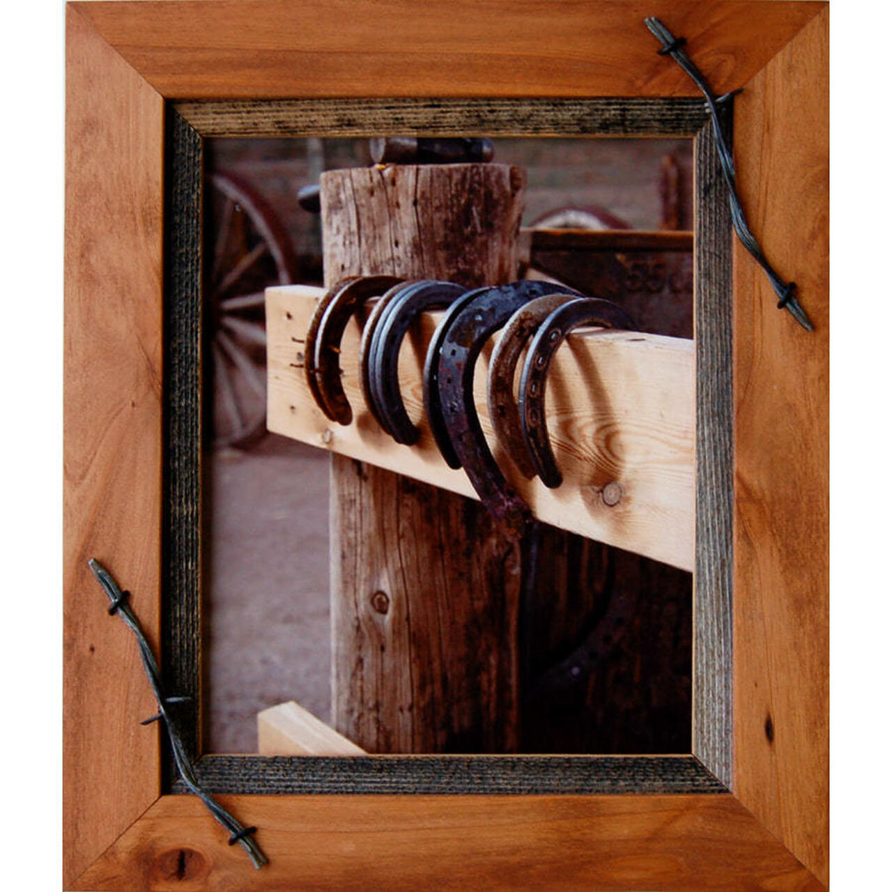 Western Barnwood Picture Frame With Barbed Wire 22x30