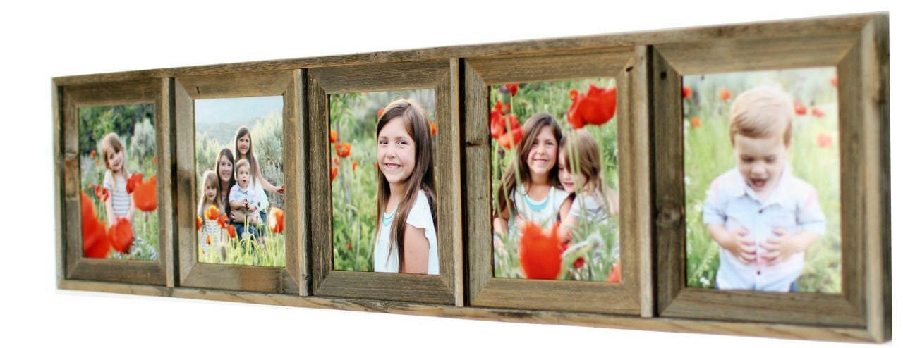 Rustic Collage Picture Frame 5x7 Barnwood Multi Opening