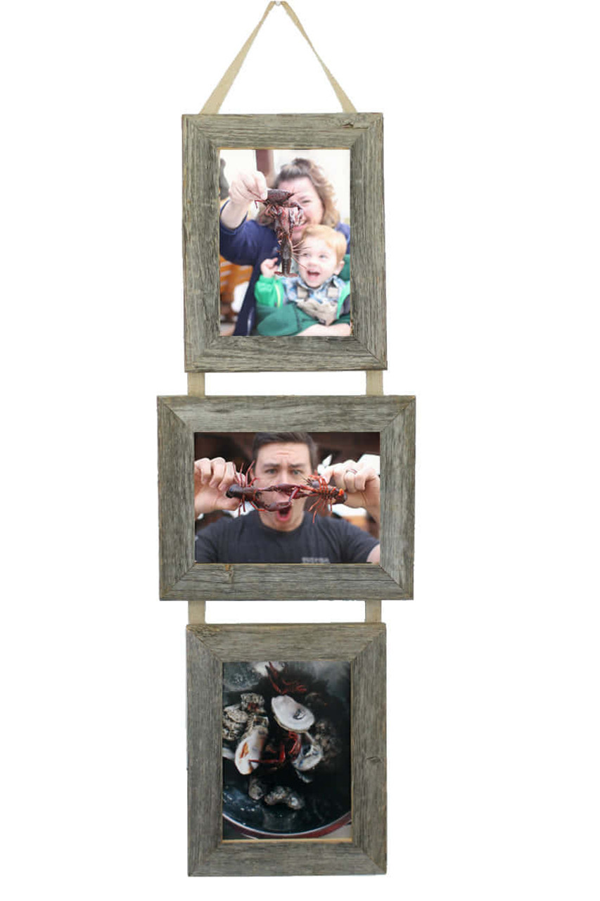 3 opening 5x7 frame collage picture rustic barnwood opening collage frame set 5x7 three frames on ribbon hanging set multi photo