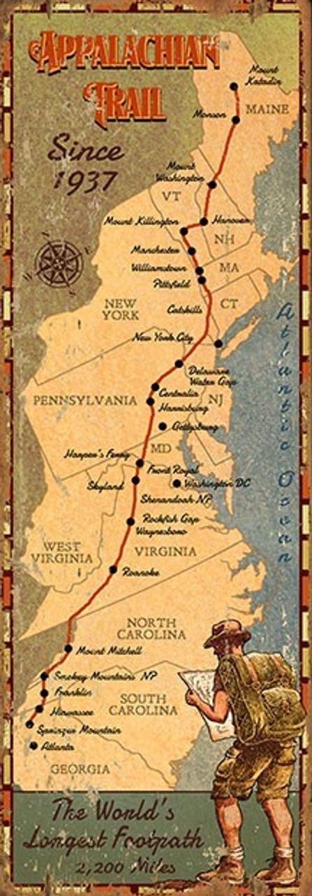 Vintage Appalachian Trail Map Sign