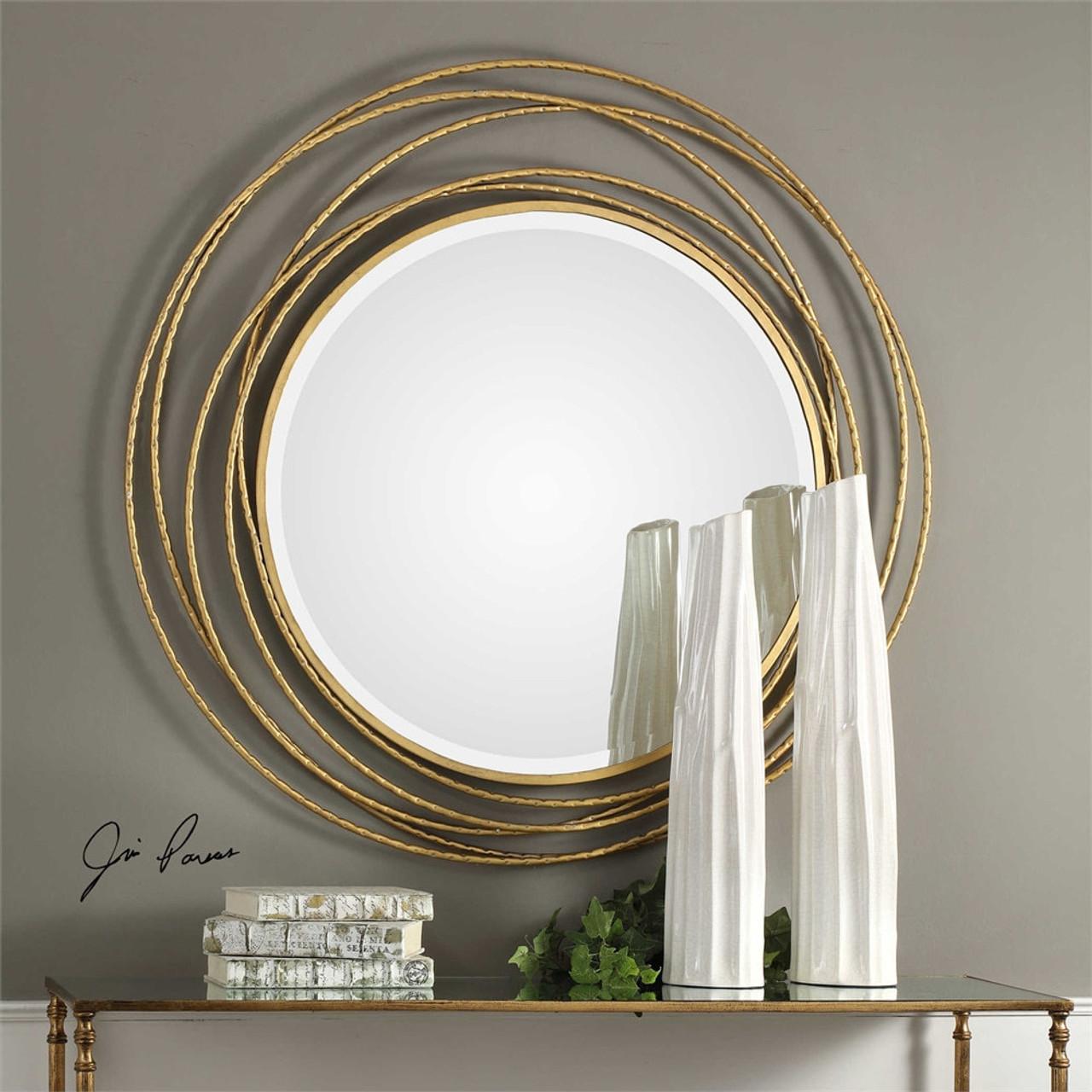 Whirlwind Gold Round Mirror Mybarnwoodframes Com