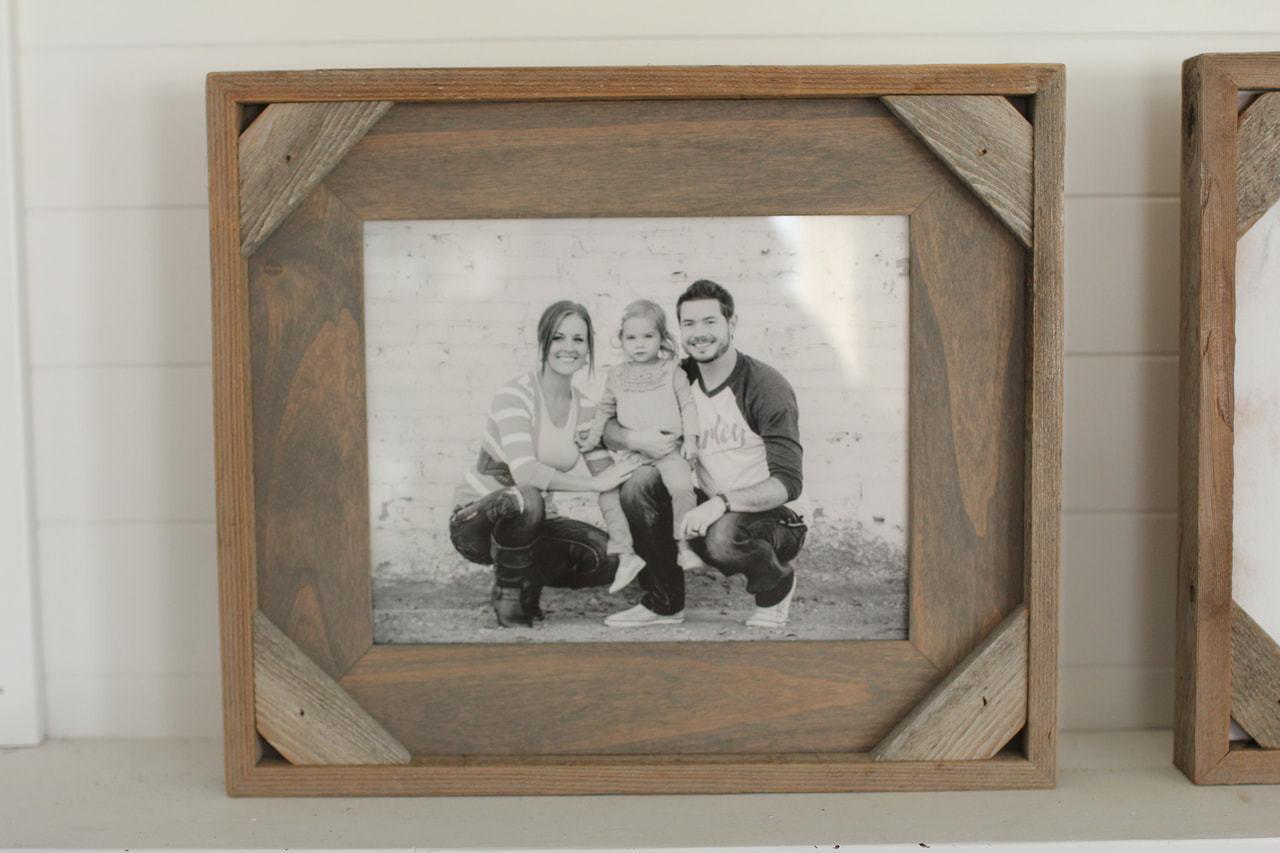 7e832bcbdd2 4x6 Size Rustic Cornerblock Frame - Reclaimed Wood Photo Frames