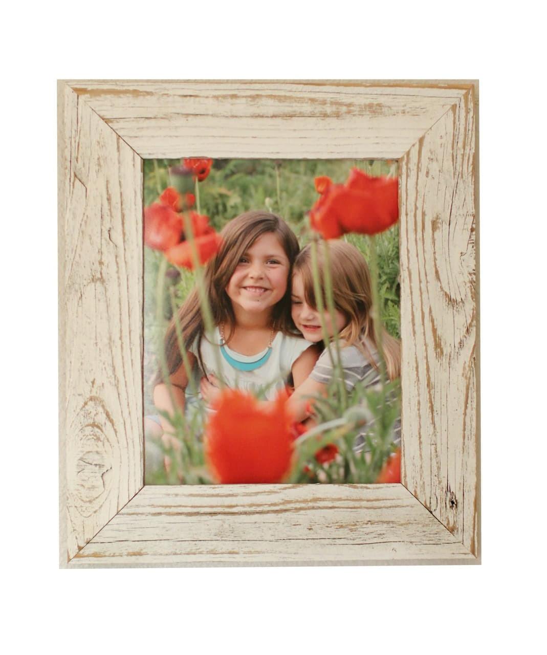 8x10 Antique White Barnwood Picture Frame Whitewashed Reclaimed Wood