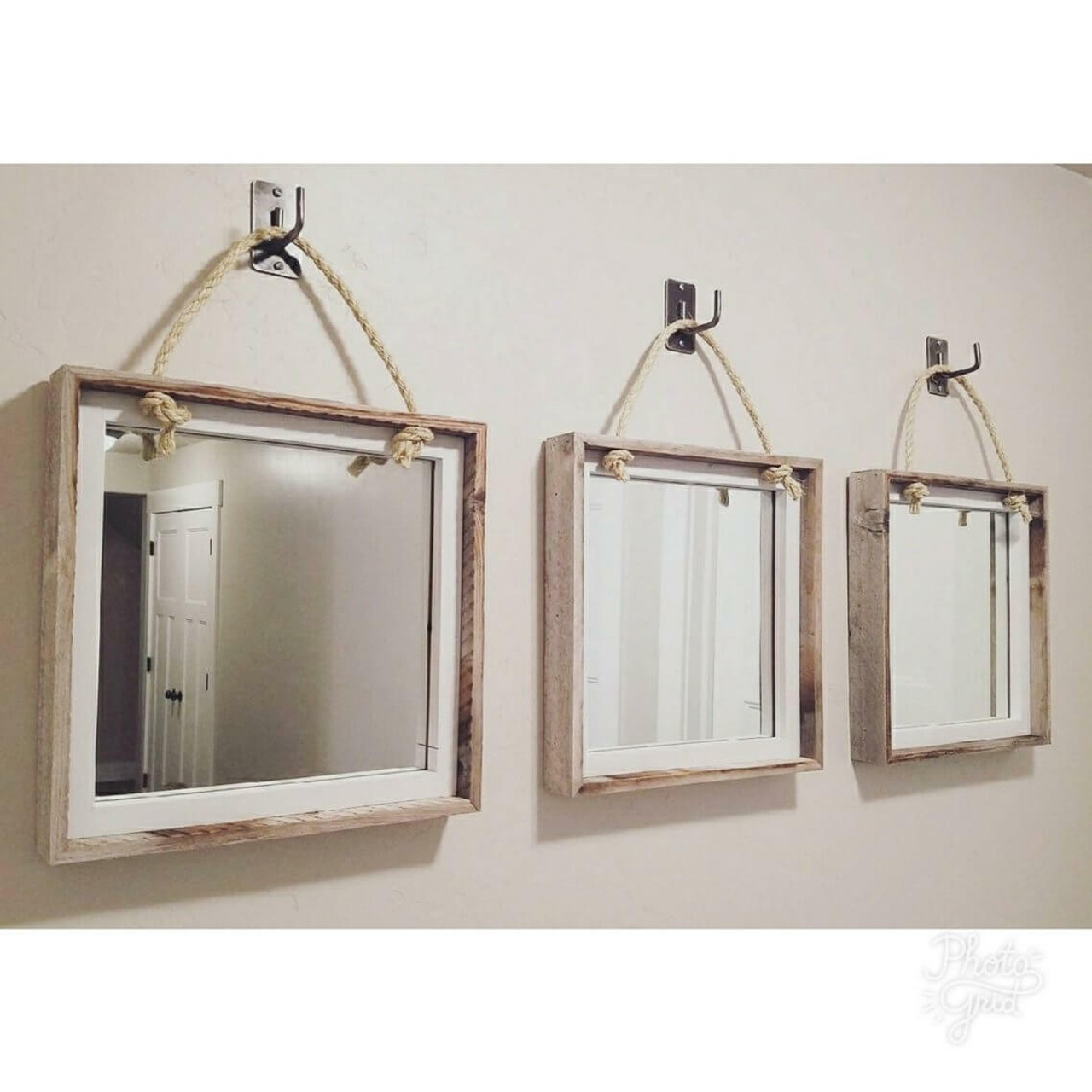Set Of 3 Mirrors Hanging On Rope Mybarnwoodframes Com