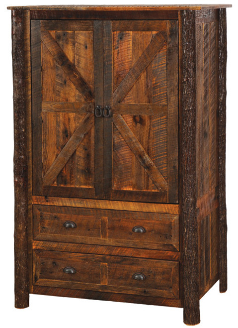 Reclaimed Wood Wardrobe Armoire With Hanging Rod