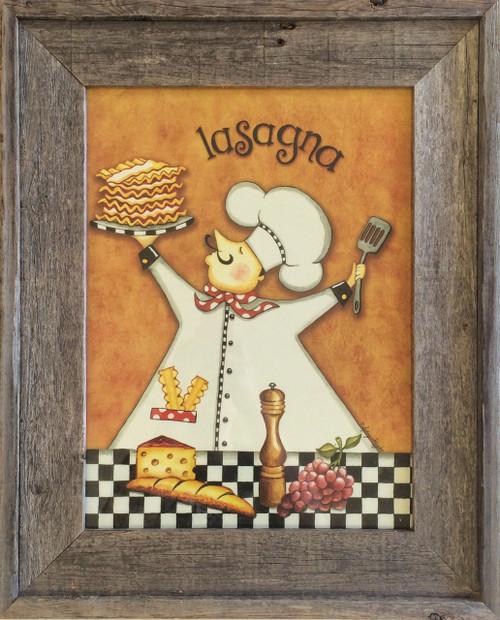 Rustic Wall Decor Chef Lasagne Kitchen Wall Decor Print
