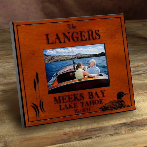 Personalized Wood Picture Frames Loon Lake Motif