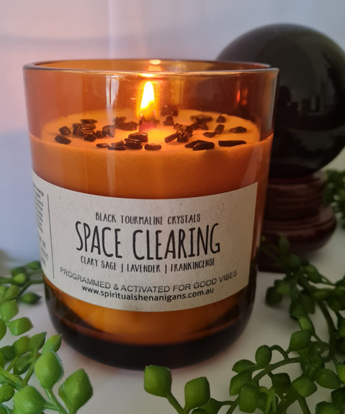 SPACE/ENERGY CLEARING Crystal Infused Soy Candle